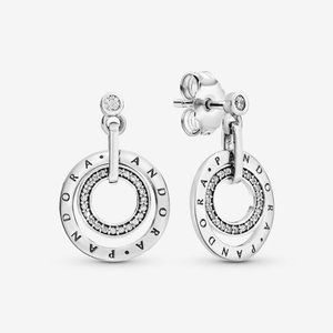 ✨Pandora Logo & Sparkle Circle Hanging Earrings